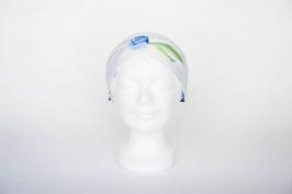 Haarband doppelt, weiß, blau, grün