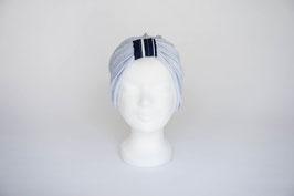 Turban silber mit dunkelblauer Schlaufe