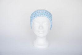 Haarband einfach, hellblau-weiß gemustert