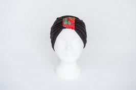 Turban schwarz/rot Glitzer mit rot/grüner Schlaufe