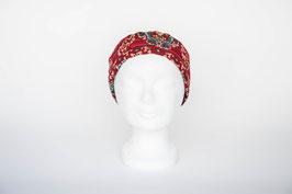 Haarband einfach, bordeaux-rot geblümt