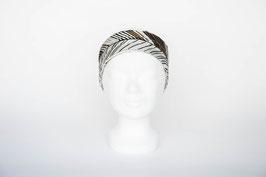 Haarband einfach, braun-weiß gemustert