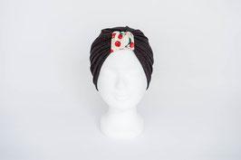 Turban schwarz/rot glitzer mit Kirsch-Schlaufe