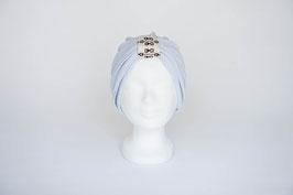 Turban silber mit Kettenmuster-Schlaufe