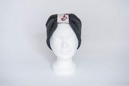 Stirnband grau/rosa Blümchen