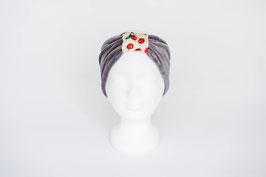Stirnband grau mit Kirschen