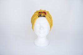 Turban gold mit dunkelblau, rot, goldener Schlaufe