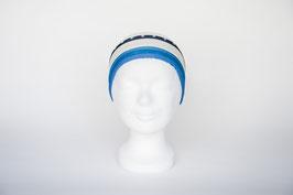 Haarband einfach, blau-weiß gemustert