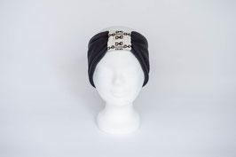 Stirnband anthrazit/weiß/Kettenmuster