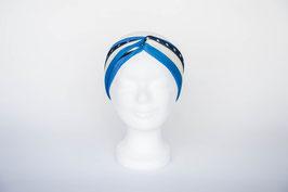 Haarband doppelt, weiß, blau mit Sternen