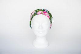 Haarband einfach, pink-grün gemustert