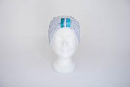 Turban silber mit türkis, blau, weiß gestreifter Schlaufe