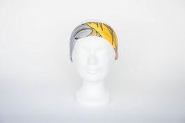 Haarband einfach, grau-gelb gemustert