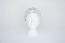 Turban silber mit  Schlaufe in hellgelb und helllila