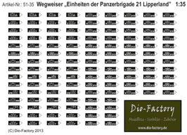 """Wegweiser """"Einheiten der Panzerbrigade 21 Lipperland"""" in 1:35"""