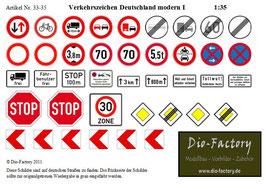 Verkehrszeichen Deutschland modern I in 1:35
