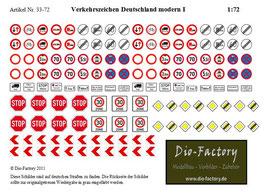 Verkehrszeichen Deutschland modern I in 1:72