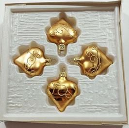 Herzchen-Weihnachtskugel in Gold, 4er Set