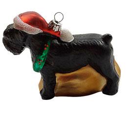 Weihnachtsschmuck Hund - Schnauzer in schwarz