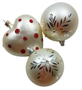 Weihnachtskugel, weiß-silber-rot, 3er Set wie abgebildet