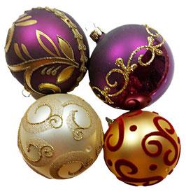 Hochwertige Weihnachtskugel, Einzelstücke, 4er Set wie abgebildet