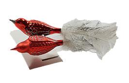 Zierliche Vögelchen in rot-silber, letzte Stück