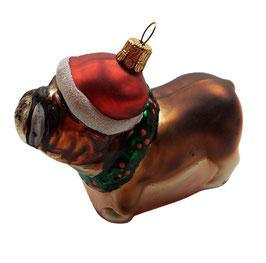 Weihnachtsschmuck Hund - Bulldoge mit Weihnachtsmütze