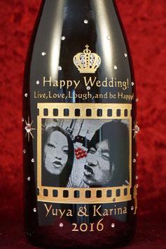 送料無料! 結婚祝い オリジナル彫刻 シャンパン 名入れ 写真彫刻 750ml スパークリングワイン スワロフスキー装飾付き ラッピング無料 オンリーワン 世界で一つ