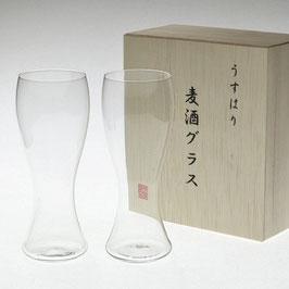 うすはり 麦酒グラス 松徳硝子 ペア 木箱入り 名入れ ロゴ入れ お祝い ギフト 結婚祝い オーダーメイド 格安 ラッピング無料