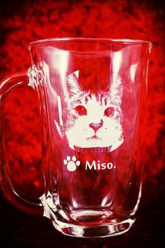 いつも一緒にいたい! 愛猫の写真入り 国産 手びねりジョッキ  ラッピング無料 名入れ 写真彫刻  ランキング 人気商品 オーダーメイド オンリーワン オリジナル
