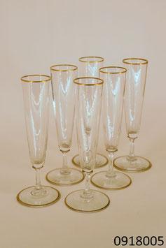 6 Gläser Kristall mit Goldrand
