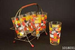 6 Wassergläser mit Gestell