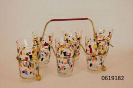 6 Gläser im Metallgestell