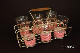 6 Trinkgläser mit Gestell