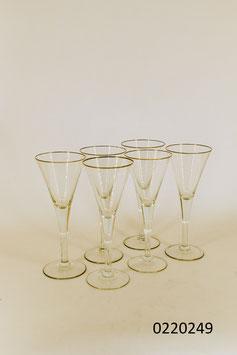 6 Champagnergläser mit Goldrand Kristall (0220249)
