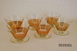 6 Dessertschalen mit Goldrand (0519161)