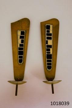 """2 Kerzenwandhänger Messing mit Mosaik """"Schäfer"""" Handarbeit (1018039)"""