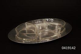 4 Glasschalen mit Aluminium Platte Schweizer Handarbeit