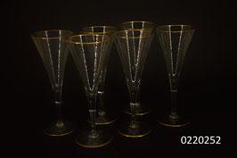 6er Set Champagnergläser mit Goldrand (0220252)