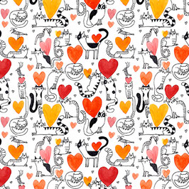 Hearts and Cats Coral, It´s raining Cats and Dogs, Contempo 04262550821