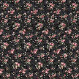 Kleine Rosen-Bouquets schwarz, Quilt Gate 03309550716