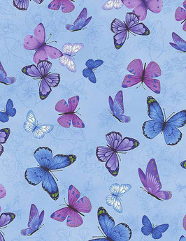 Butterflies On Etched Pansies, Pansy Paradise, Timeless Treasures 03171750621