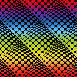 Pop Dots Ombre Rainbow Black,  Windham Fabrics 01081650821