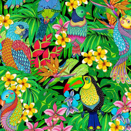Black Birds Allover, Tropical Flair, Wilmington Prints 10046850620