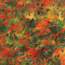 Grüne Blüten auf orangen Grund, Batik, Anthology Fabrics, 08039550719