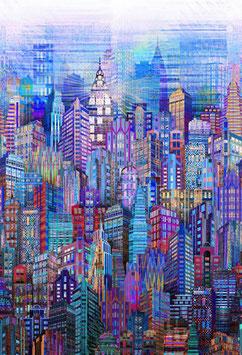Skylines Blue, Hoffman Fabrics 08069050719