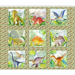 1DIN1 Dino Panel Multi, Dinosaur Friends, In The Beginning Fabrics 08017950821
