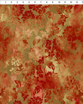 orange Blüten auf hellbraun, Diaphanous by Jason Yenter for In The Beginning fabrics 04412650819