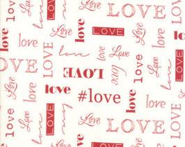 rote Love Schriftzüge auf weißem Grund, Love, Sandy Gervais for Moda Fabrics, 01553650517