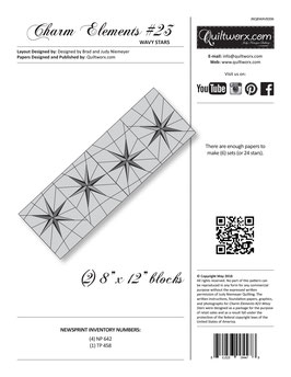 Charm Elements: Pack #23 Wavy Stars, Quiltworx, Judy Niemeyer